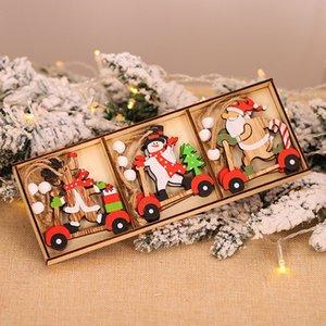 Ana Çocuk Hediye Noel Navidad Dekor için Süsler Noel Süslemeleri Asma 9pcs / kutu Noel Araba Ahşap Kolye Noel Ağacı