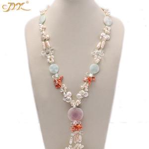 Kadınlar için Jyx 5-6mm bule, beyaz, kahve ve pembe tatlı su inci taş akik opera kolye Takı Hediye