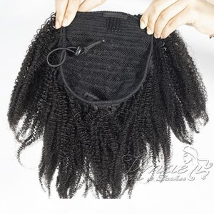 Brazilian Natural Black Curly 4C 120g Horsetail Cuticle Aligned Elastic Band Drawstring Ponytail Virgin Remy Human Hair Extension