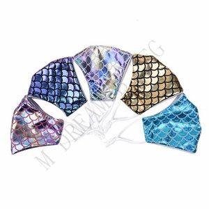 Sirena colorido con filtro de bolsillo de lentejuelas arco iris del polvo anti cara Covers Máscara láser lavable Diseñador Owd1431