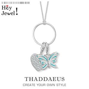 Chaînes Charm Collier Butterfly Heart, 2021 Spring Fashion Bijoux 925 Sterling Argent Bijoux Cadeau pour Femmes Filles