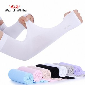 WorthWhile Ice Fabric Arm Sleeves UV Protection Mangas Warmers Summer Sports Running Cycling Driving Reflective Sunscreen 2wF5#