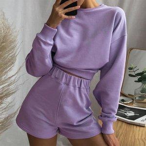 hirigin Женщины 2 шт Набор Soild Цвет с длинными рукавами Sweatershirt высокой талией для похудения Байкер Шорты Активный спорт Tracksuit