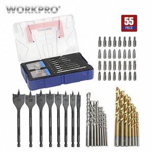 WORKPRO 55-Piece Drill combinato Bit Set Massoneria Drill Bits HSS Punte legno Spade cacciavite vZ0o #