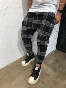 Pantalone Maschi Abbigliamento Plaid Stampa progettista del mens pantaloni di modo 3D Digital Print Paneled Mens Sport