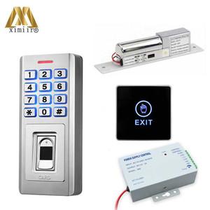 Boa qualidade Fingerprint Access Control Waterproof Porta Controle de Acesso com botão de saída, Lock, Alimentação KF5 ID Kit