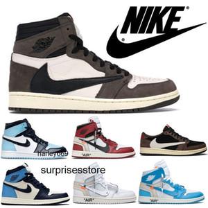 Nike air jordan retro 1 offwhites Travis Scotts AJ 1 Obsidian UNC Mens shoes Turbo Green 1s Chicago Banned Basketball Sneakers