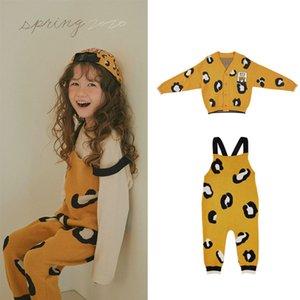 EnkeliBB Limite D Kid Kız Leopard Genel ve Coat Eşleştirme Çocuklar Kore Sonbahar Kış Giyim Örme tulumları