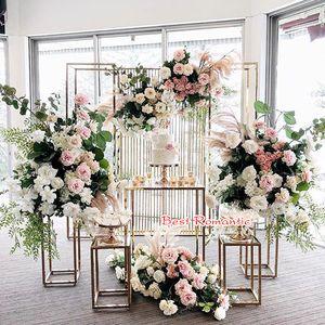 Pastel alto soporte de flor jarrones de flores Columna de columna mesa de piezas de flores con panel acrílico Soporte brillante Plintos para exposiciones Evento Etapa