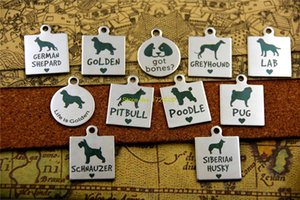 "20pcs--stainless steel charms ""german shepard golden got bones greyhound LAB golden pitbull poodle pug schnauzer siberian husky"""