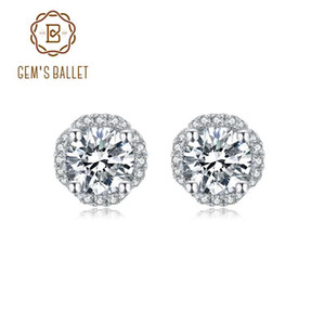 Gem's Ballet 5.0mm 1.0ct D Color Moissanite Brincos Para As Mulheres 925 Sterling Silver 4 Prong Moissanite Brincos Jóias