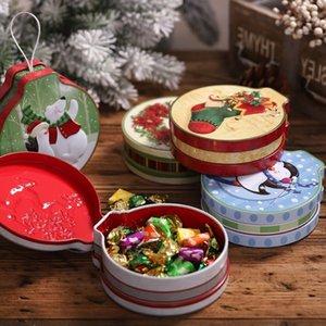라운드 틴 캔디 쿠키 테마 케이스 금속 컨테이너 크리스마스 휴일 장식 상자 저장 Yu8d