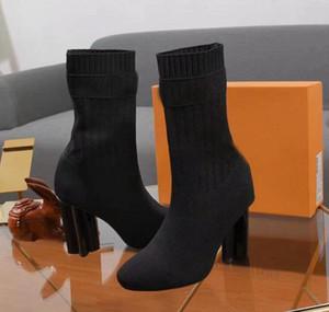 [Подлинный Box] Новое прибытие женщин Hlaf Высокий каблук 10CM Four Seasons Носок типа пинетки дамы высокого Quincunx пятки моды сапоги Размер 35-42