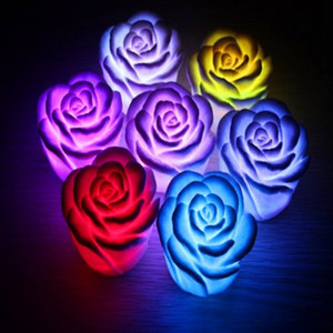 Rose Flower LED Light Night Changing 7 Colors Romantic Candle Light Lamp High Quality Festival Party Decoration Light