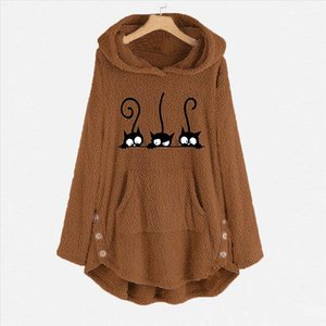 Plus Size Fleece Cat Embroidery Sweatershirt Oversized Warm Hoodie Button Long Pullover Womens Winter Warm Pocket Tops N