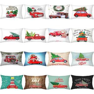 Christmas Pillowcase 30x50cm Christmas Rectangle Sofa Cushion Cover Merry Christmas Car Single Side Printed Pillow Case DHD1085
