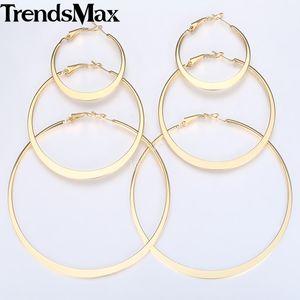 Trendsmax Hoop Earrings For Women Flat Round Circle Gold Women Earrings Woman Jewelry Gifts Statement 4mm KGEM20