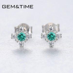 GemTime Nano russischen Smaragd Snowflake-Bolzen-Ohrringe Sterling Silber Ohrringe für Frauen Edelstein-Schmuck joyas de plata 925