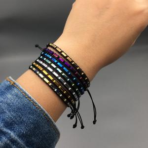 Boho donne del braccialetto del tubo di figura del metallo perline Leather Wrap singolo braccialetto di amicizia in rilievo Dropship