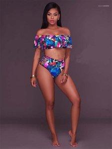Swimsuits Women Summer Swimwear Floral Print Womens Designer Bikinis Sext Slash Neck High Waist Two Piece