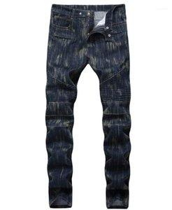 Длинные джинсы середины талия Мужской Моды Мотор брюки Мужская одежда Straight Fold Тощего Mens