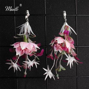 Miallo En Yeni Kadınlar için moda Yapay Mor Çiçek Gelin Küpe Düğün Gelin Nedimeler Eardrop Küpe