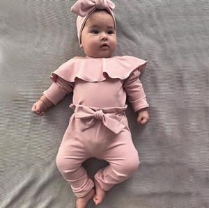 2020 Kids Clothes Newborn Baby Boy Girl Clothes Lotus Leaf Collar Romper + Pant Suit Jumpsuit Bodysuit Pants Boutique Outfits Sets BY1593