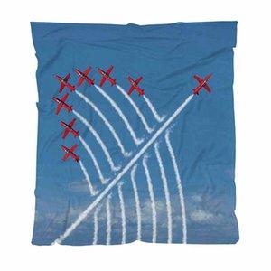 Calentar la franela del paño grueso y suave de toallas Mantas Avión Azul Rojo Avión de acrobacias Sunny Sky Ligera manta caliente para la cama Sofá Sofá recorrido al aire libre