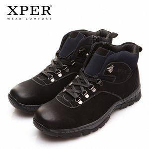 XPER Brand New Winter Men Boots Fashion Black Snow Warm Fur Men Shoes Ankle Zipper Casual Shoes Waterproof Rubber XAF86710 E8Oj#