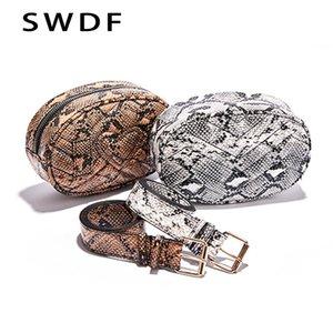 SWDF Belt Bag Waist Bag Round Fanny Pack Women Leather Handbag Snake 2020 Summer High Quality Drop Shipping