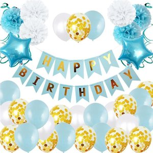 Latex balloon set pull flag paper flower ball swirl baby first birthday party decoration set