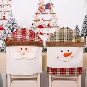 Nouvel An Décorations de Noël Cartoon Chaise couverture Snowman Santa Dinning Elk Chambre Home Décor Party de Noël Ornement 2021