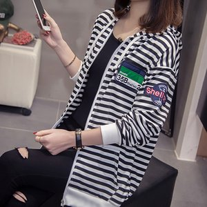 2020 Autumn New Large Size Dress Loose Large Girls Striped Hooded Sweater BF Thin Coat Female 200 Jin