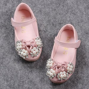 A004 A004 DHL Fashion Pearl Kids Baby Flower Shoes Children Wedding Party Dress Princess Leather Sandal For Teens Girl Dance HOCOCAL FV