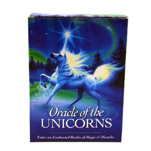 44pcs Full English Unicorn Oracle Deck Mysterious Tarot Cards Guidance -divination Fate Board Game Party Toy