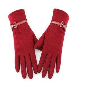 Winter new lady fail flocking bowknot adornment fashion simple pure color and touch screen saver warm gloves ST-015