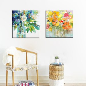 Canvas Prints Wall Decoration, Modern Abstract Watercolor Paintings Prints On Canvas Colorful Flowers Poster Home Decor