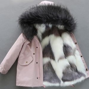소녀 다운 재킷 2020 고품질 아기 소녀 겨울 코트 T200917 겉옷 겨울 가짜 여우 모피 코트 라이너 분리 긴 털 파카 따뜻한