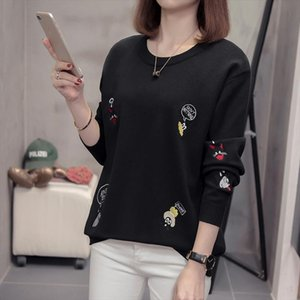 Autumn 2020 new Round neck women Pullovers Cartoon Embroidery Sweaters long sleeve Korean Style Loose Plus size knitting Tops