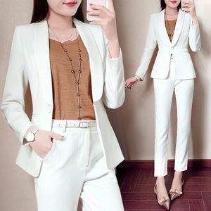 Set female professional casual small suit feet pants two-piece fashion 2020 new autumn temperament white elegant wild set