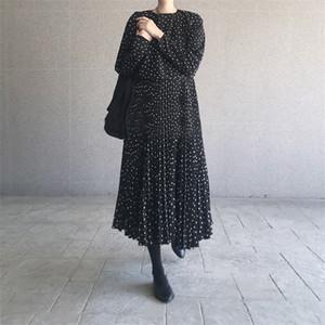 women dot sprint autumn maxi dress pleated long sleeve female casual loose dresses A line ankle length vestidos dresses 0924