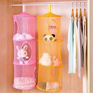 Dobrável 3 Shelf Hanging Organizer Toy Armazenamento Net Crianças Bag cesta de armazenamento cilíndrico para a loja da parede da casa da porta do armário