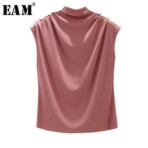 [EAM] Women 8 cores Breve plissadas Khaki plissadas T-shirt New Turtleneck mangas Moda Tide Primavera-Verão 2020 1X854