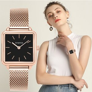 Ananke Роскошный дизайнерский бренд женщин вскользь кварцевые часы Дамы браслет часы Мода из нержавеющей стали Uhr часы 2019