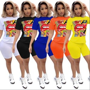 Casual 2 Piece Set Women Suits Outfits Oversized T Shirt And Biker Shorts Set Ladies Tracksuit Female Summer Matching Sets 2020
