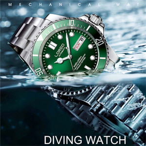 2020 Loreo Saatler Erkekler Dayanıklı Mekanik Pilot Su geçirmez Spor İzle Dalgıç reloj automatico de hombre