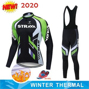Warm 2020 Winter Thermal Fleece Cycling Clothes STRAVA Men's Jersey Suit Outdoor Riding Bike MTB Clothing Bib Pants Set NW
