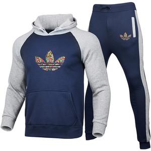 2 шт наборы Марка Tracksuit Мужчины Толстовка с капюшоном + брюки пуловер Hoodie Sportwear Костюм Повседневный мужской одежды Размер S-3XL