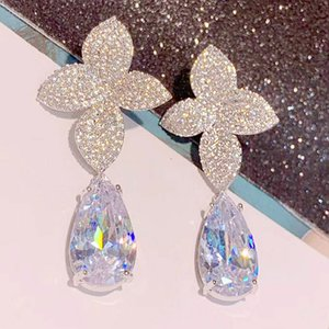 Fashion Transparent White Water Zirconia Lady Flower Earrings Brazilian Style Gift