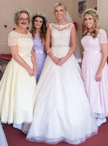 Eelgant Lace Bridesmaid Dresses A Line Ankle Length Short Sleeves Wedding Party Dresses Robe Honor Of Maid Dresses with Bow Simple L33